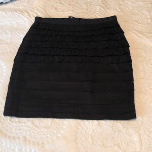 Black Pencil Skirt with Ruffles